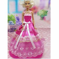 best japanese cartoon - color Handmade Toy inch kids baby doll Clothes for girls pink lace embroidery wedding dress best gift for my baby