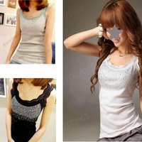 Cheap D19 Girl Women's Rhinestone Sequin Lace Tank Top Sling Camisole Cami Vest Slim