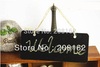Wholesale Wooden Hanging Mini Small Blackboard Leave A Message WordPad Room Doorplate Chalkboard With Rope mini order usd