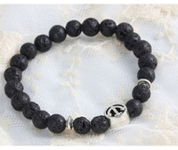 Wholesale Natural Gemstone Lava Agate Black Stone Bracelets Plain Peace Charms Bangles For Men Women Large Stocks mm Beaded Bracelets Bags Free
