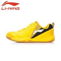 Wholesale Original New lining AYAL017 Professional Men s Badminton shoes tennis Shoe AYAL017 yellow white blue