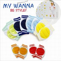 Wholesale 6 Colors Stylish Pair Kids Safety Crawling Elbow Cushion Infants Toddlers Baby Knee Pads Protector Leg Warmers Baby Kneecap DHP021