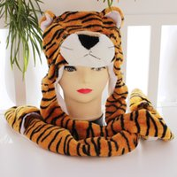 Wholesale 60pcs Cartoon Plush Animal Tiger Faux Fur Full Hood Hat Women Men Children Kids Costume Beanie with Long Scarf Mittens Gloves Earmuffs