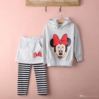 Wholesale 2015 Girl Baby Toddler Top Minnie Mouse Coat Pants Dress Skirt Set Kids Outfits sets