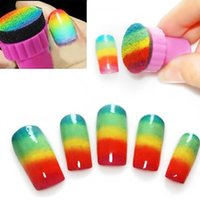 Wholesale 1set Nail Art Sponge Stamp Stamping Template Transfer Manicure DIY Tools M01177