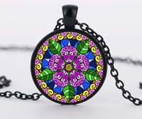 om pendant - hot sale mandala flower pendant necklaces henna yaga necklace dome glass rhinestone jewelry om symbol buddhism zen c n