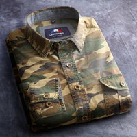 Cheap Wholesale-100% Cotton Camouflage shirt Men Breathable Army Tactical Combat casual Shirts Outdoors Hunting Military Camo Outdoor Clothes