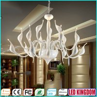 art deco swan - White Swan Chandeliers Lighting Pendant Light Lamp Fixtures For Bedroom Dining Living Romm Hotel with AC110 to V CE FCC ROHS