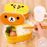 Wholesale 1 Brown Microwave Rilakkuma Bento Yellow Microwave Nostrils Chickens Multilayer Children Lunch Box HOT with Chopsticks