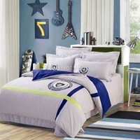 bedspread cotton thread - England Style Applique Embroidered Europe Club Thread Count Egyptian Cotton Bedding Set FULL QUEEN KING Size Bed Bedspread