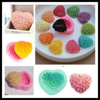 Wholesale love rose heart silicone cake mold baking tools chocolate mold muffin candy jelly tray makers fondant cake baking moulds Valentine Day gift
