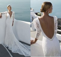 Wholesale Julie Vino Spring Long Sleeve Wedding Dresses Vintage Lace Mermaid Style Juliet Sexy Deep V neck Backless Beading Pearls Wedding Dress