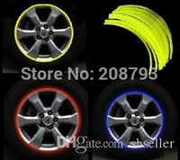 Wholesale 16 Strips quot Wheel Reflective Car Motorcycle Rim Sticker WHEEL Rim Stripe Decal sticker Waterproof Rim Sticker A5