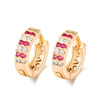 Wholesale New Fashion K Gold Plated Top Quality Double Rows Multi color Austrian Crystal Cubic Zirconia Women Hoop Earring Jewelry