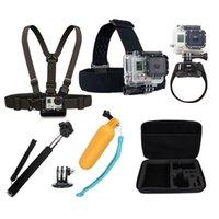 Wholesale Sj4000 Accessories Head Belt Chest Strap Wrist Belt Monopod Adapter Floating Hand Grip Mount Containing Box gopro Hero