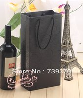 Cheap 12pcs 35*17*9cm High Quality Black Cardboard Paper Red Wine Bag Packaging Bags with Handle for Gift Candy Wedding Party Favors