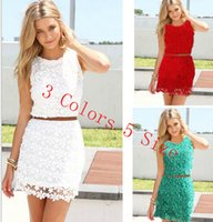 Wholesale Lace Crocheted dresses sexy women Runway party Dresses Night Out Club Street Style long sleeve Casual shirts vest dresses clothing colors
