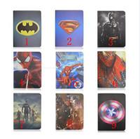 Cheap Superman Batman Hero Spider Man Super Captain America Stand holder Smart Leather case cover For ipad 2 3 4 ipad air ipad air 2 ipad6 mini123