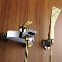 bathtub designs - 2015 Patent Design Solid Brass Luxurious Wall Mounted Golden Bathtub Faucet Shower Mixer with handshower