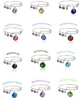 Wholesale Fashion Alex And Ani Months Colors Birthstone Crystal Pendant Bangle Charm Expandable Wire Bracelets for Women Lady Girls Birthday Gifts
