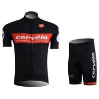 Wholesale hot selling cervelo team men cycling jerseys set with black short breathable anti UV sleeve mountain road top and short