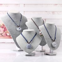 Wholesale Different size grey Velvet Bust Necklace Jewellery Display Stand jewelry holder