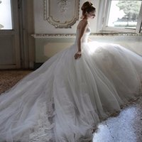 aimee gowns - Atelier Aimee New Wedding Dresses Ball Gown Strapless Backless lace Appliques Chapel Train Tulle Bridal Gowns