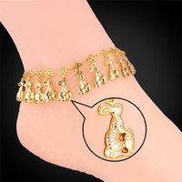 Cheap Women Lively Rabbits Charms Ankle Chains 18K Real Gold Platinum Plated Jewelry for Girls Bracelets Anklets