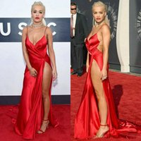 award gold - 2015 Video Music Awards Celebrity Dress Rita Ora in Carpet Sheath Spaghetti Straps Taffeta Sexy Slit Backless Celebrities Dresses