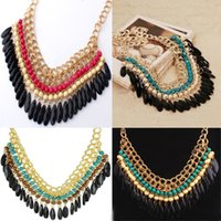 beaded fringe wholesale - women s Layered Bohemian Tassels Fringe Drop Vintage Gold Choker Chain Neon Bib Statement Necklace Fashion Jewelry