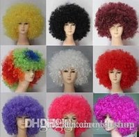 Wholesale New Party Rainbow Afro Clown Child Adult Costume Football Fan Wig Hair