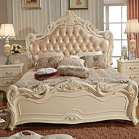Wholesale Cheap French Bed leather Bed m marriage Bed wood bedroom furniture Beds Continental