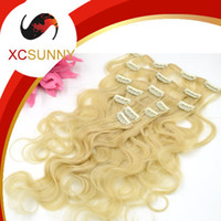 Wholesale XCSUNNY Human Hair Clips In Extensions Virgin Clip In Hair Extension Body Wave g set Real Human Hair Extensions