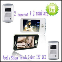 Wholesale colour video door phone Luxury aluminium cameras Apple shape inch indoor monitors