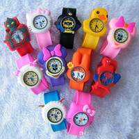 automatic alarm watches - 30pcs Cute Cartoon Style Mix Order Children Kids Teens Silicone Wristwatch Spiderman Minions Batman Car Birds Bear Children Slap Watch Gift