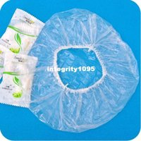 Wholesale Disposable One off Hotel Home Shower Bathing Clear Hair Elastic Caps Hats retail JG11