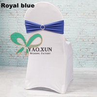 Cheap Cheap Wedding Chair Cover \ Lycra Spandex Chair Cover With Royal Blue Chair Band And Buckle