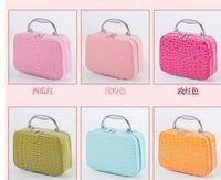 Wholesale 2016 Newest Square Alligator Pattern Women Cosmetic Bag Cute Cosmetic Case Makeup Organizer Bags Ladies Make up Bag