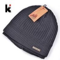 balaclava knitting - Skullies winter balaclava mens designer hat ski mask knitted wool cap men beanie plus thick velvet hats for men turban