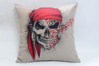 Wholesale skeleton pirate captain pillow cover linen cotton cushions sofa cushion pillow decorative