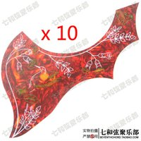 Wholesale 10 Red Shell Hummingbird Flower Decorative pattern Acoustic Guitar Pickguard Pick Guard Anti scratch Plate JPHN RED