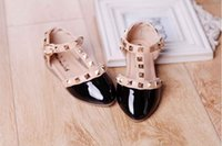 Wholesale 4 Colors Summer Elegant Rivet Princess Patent Leather Kids Low heeled Children Shoes Girls Wedge Sandals