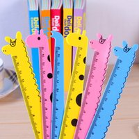 Wholesale 2015 Kawaii Candy color Student Animal shape Ruler drawing ruler school Office student stationery Supplies deer elephant shape cm