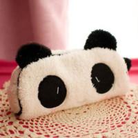 Wholesale Cute Soft Plush Panda Pencil Bag Boys Girls Pen Case Cosmetic Makeup Pouch Students multi functional pen bag