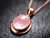 al por mayor luna colgante de oro rosa-30% de la plata esterlina 925 5kt redondo grande natural de cuarzo rosa de 18 quilates chapado en oro rosa del corazón del collar de luna colgante