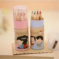 Wholesale cute color office wooden pencil for kids gift package colored pencils for drawing stationary school supplies ARC507