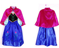 Wholesale Fashion Frozen Dress Princess Anna Cosplay Dresses Special Long Sleeve Autumn Blue Dress with Red Shawl Girls Christmas Clothing