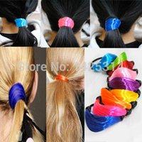 Wholesale Fluorescent colors artificial Women wig hair ring Fashion Colorful Girls Elastic Hair Bands Headwear Girl Ponytails Hair Rope