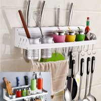 bamboo wall shelf - cm Hooks Cups Kitchen Rack Organizer Knife Stock Shelf Organizer Wall Mounted Kitchen Tools