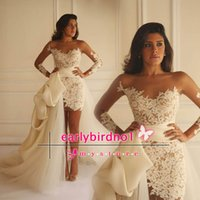 sexy mini wedding dress - 2015 Summer Beach White Lace Wedding Dresses with Sweetheart Short Lace Skirt Wedding Gowns Sash Sheer Tulle Vestidos De Novia Bridal Gowns